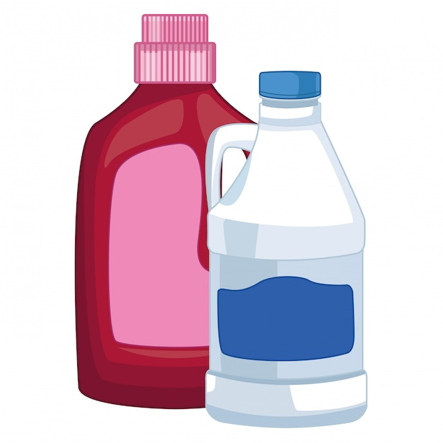 Wäschewaschen und reinigungszubehör Premium Vektoren