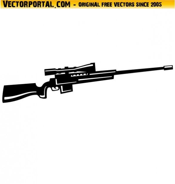 Waffe mit scharfschützengewehr optik vektor-illustration Kostenlosen Vektoren