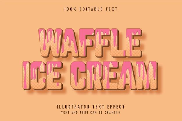 Waffeleis, 3d bearbeitbarer texteffekt braune abstufung rosa musterstileffekt Premium Vektoren