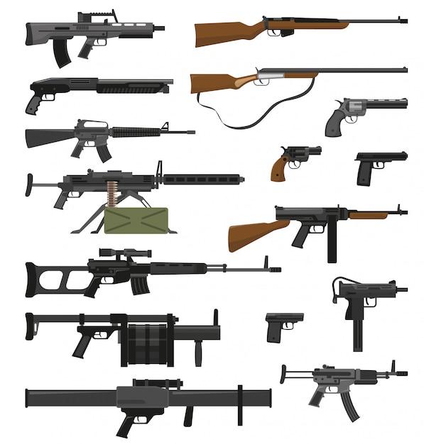 Waffen gewehre eingestellt Kostenlosen Vektoren