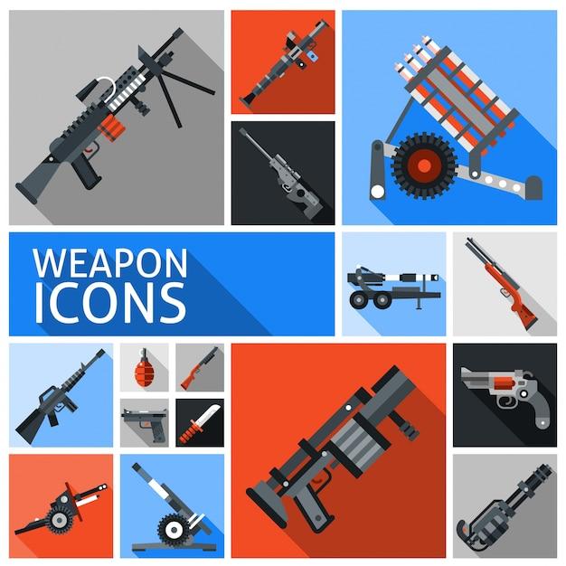 Waffen icons set Kostenlosen Vektoren