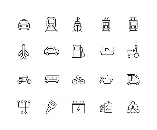 Wagen-symbole. satz von zwanzig linie ikonen. taxi, tankstelle, automotor. Premium Vektoren