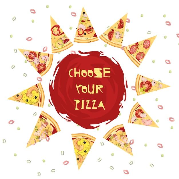 Wahl des runden designs der pizza Kostenlosen Vektoren