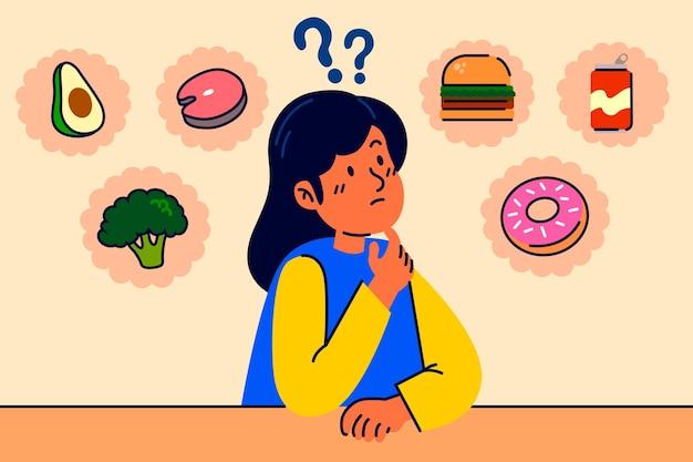 Wahl zwischen gesundem und junk-food-frauencharakter Kostenlosen Vektoren