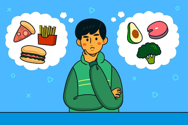 Wahl zwischen gesundem und junk-food-mann-charakter Kostenlosen Vektoren