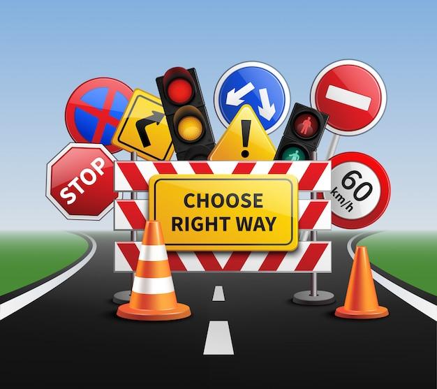 Wählen Sie Right Way Realistic Concept Kostenlose Vektoren