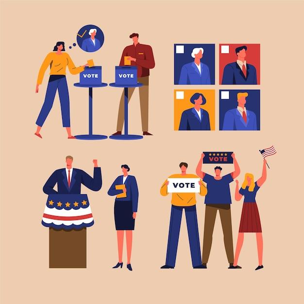 Wahlkampfszenen Kostenlosen Vektoren