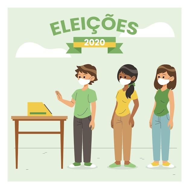 Wahllokale der brasilianischen leute mit gesichtsmaske Kostenlosen Vektoren