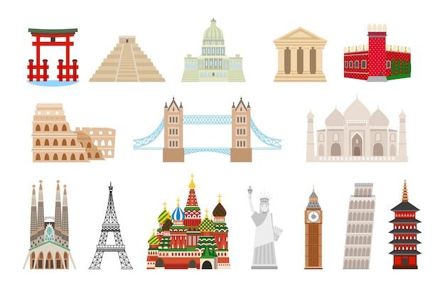 Wahrzeichen der welt im flachen stil. kolosseum und kreml, brücke und taj mahal, freiheit der statue, big ben, eiffel und pisa tower. Kostenlosen Vektoren