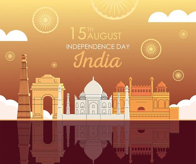 Wahrzeichen orte des unabhängigkeitstags indiens Premium Vektoren