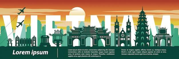 Wahrzeichen-schattenbildart, -text, -reise und -tourismus vietnams berühmtester Premium Vektoren