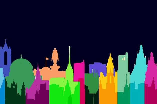 Wahrzeichen skyline bunten stil Kostenlosen Vektoren