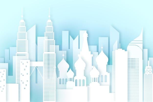 Wahrzeichen skyline im papierstil Kostenlosen Vektoren
