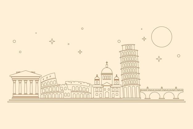 Wahrzeichen skyline mit umriss-design Kostenlosen Vektoren