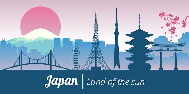 Wahrzeichen-turmlandschaft japans tokyo kyoto Premium Vektoren
