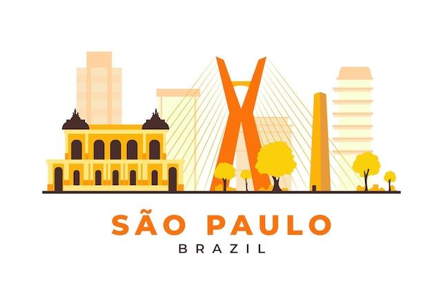 Wahrzeichen von sao paulo in gelbtönen Kostenlosen Vektoren