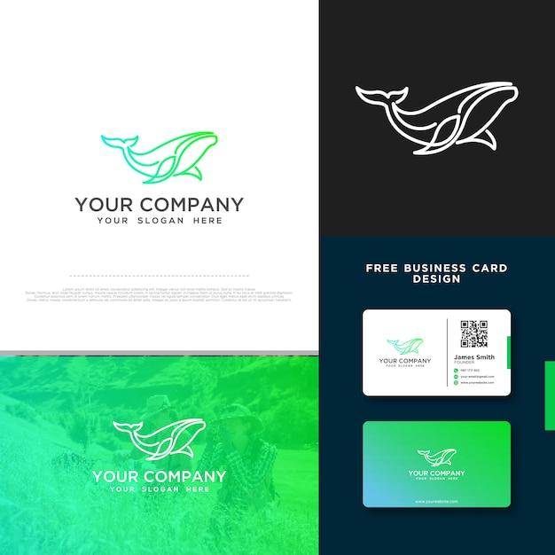 Wal-logo mit gratis-visitenkarte-design Premium Vektoren