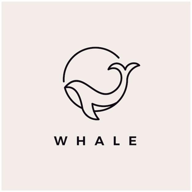 Wal monoline logo design ikone illustration Premium Vektoren