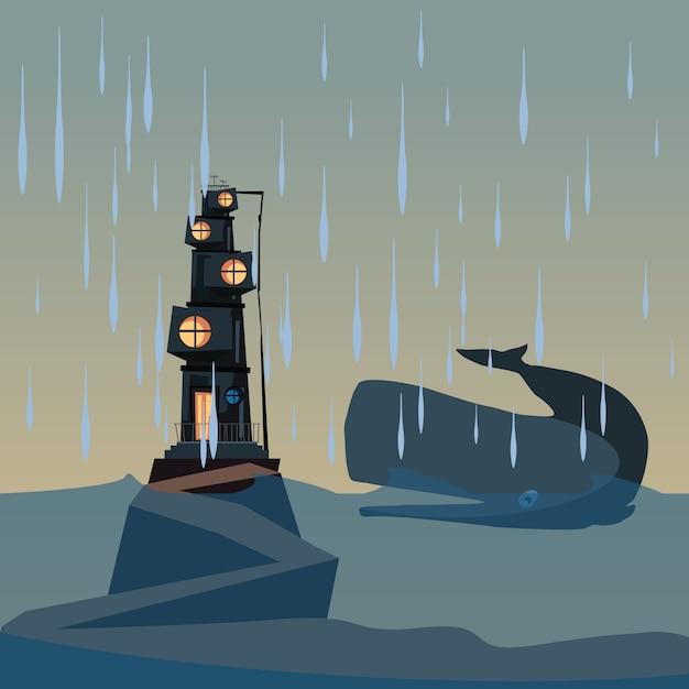 Wal und haus in der ozeanvektorillustration Premium Vektoren