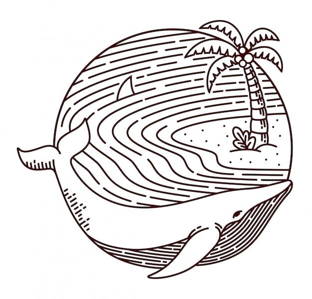 Wal- und strandlinienillustration Premium Vektoren