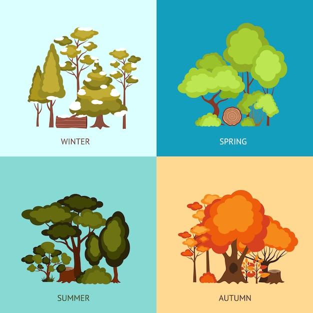 Wald-design-konzept Kostenlosen Vektoren