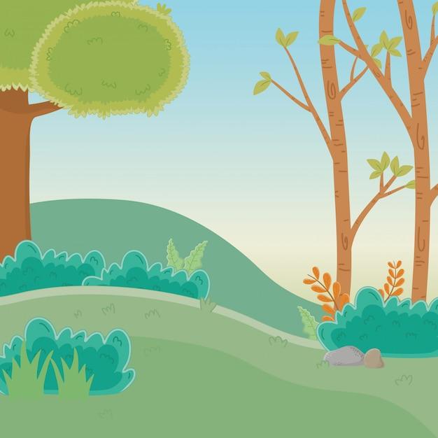 Wald mit bäumen Kostenlosen Vektoren