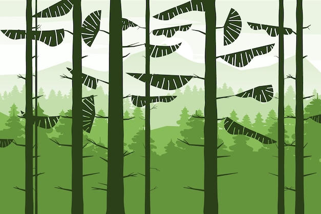 Wald nadelstämme von tannen silhoutte, sommer wald hügel. Premium Vektoren