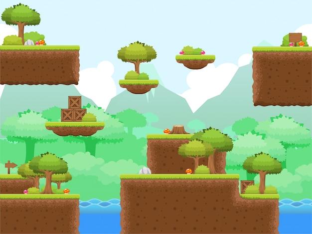 Wald platformer spiel tileset Premium Vektoren