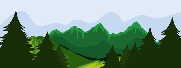 Wald- und bergszene Kostenlosen Vektoren