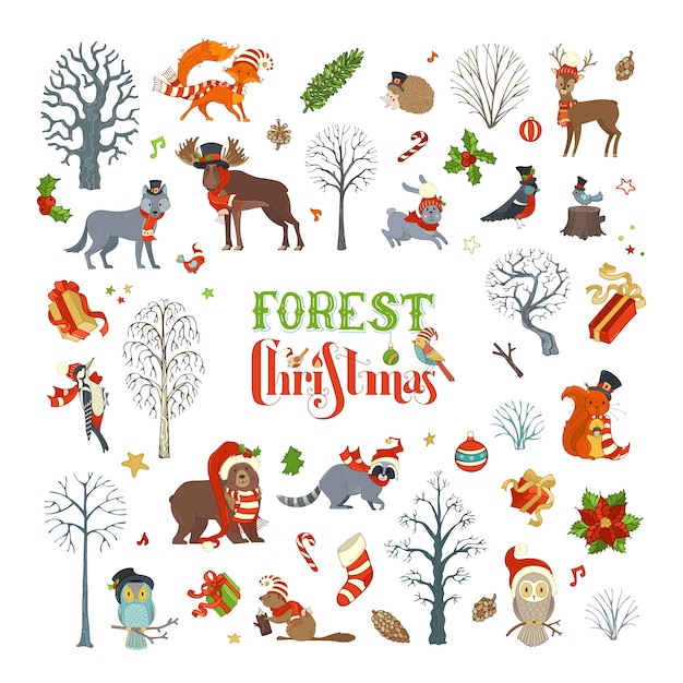Wald weihnachten. satz von winterbäumen und waldtieren in der weihnachtsmütze und im schal. elch, bär, fuchs, wolf, hirsch, eule, hase, eichhörnchen, waschbär, igel, vögel, geschenkboxen und weihnachtskugeln. Premium Vektoren