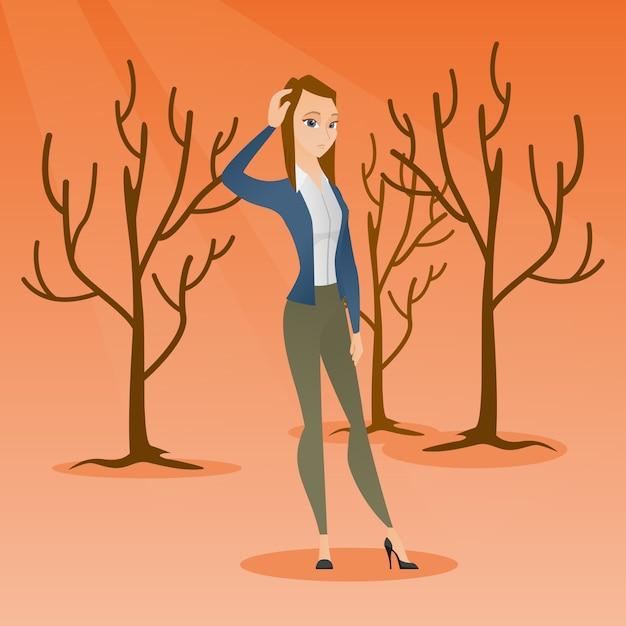 Wald zerstört durch feuer oder globale erwärmung. Premium Vektoren