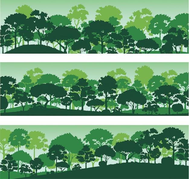 Waldbäume silhouetten, waldlandschaft vorlage banner Premium Vektoren