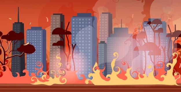Waldbrände in australien waldbrand stadtstraße mit wolkenkratzer buschfeuer naturkatastrophe konzept intensive orange flammen stadtbild Premium Vektoren