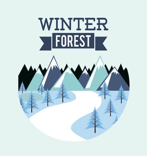 Walddesign über blauer hintergrundvektorillustration Premium Vektoren