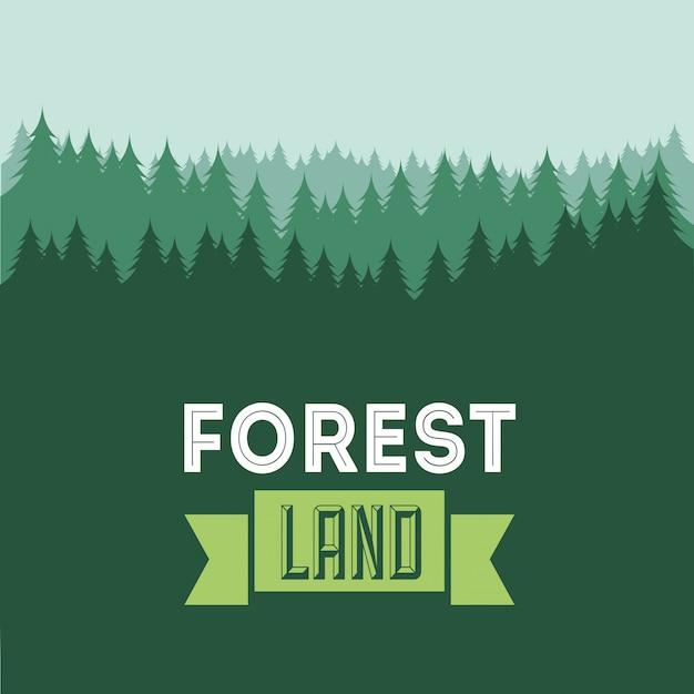 Walddesign über grüner hintergrundvektorillustration Premium Vektoren