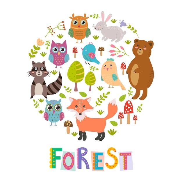 Waldkreis-formhintergrund mit nettem fuchs, eulen, bären, vögeln und waschbären. Premium Vektoren