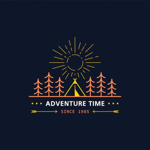 Waldlagerabzeichen. linienillustration. trekking, camping emblem. Premium Vektoren