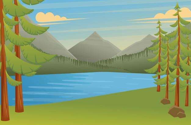 Waldlandschaft, ein großartiger ort zum zelten, schöne aussicht auf den see und die berge Premium Vektoren