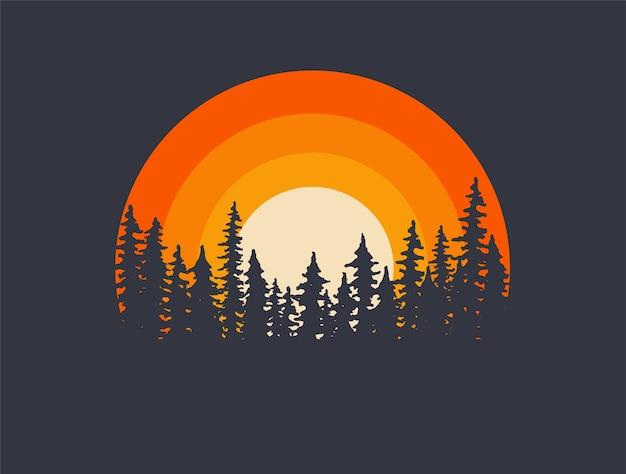 Waldlandschaftsbäumeschattenbilder mit sonnenuntergang auf hintergrund. t-shirt oder plakatillustration. Premium Vektoren