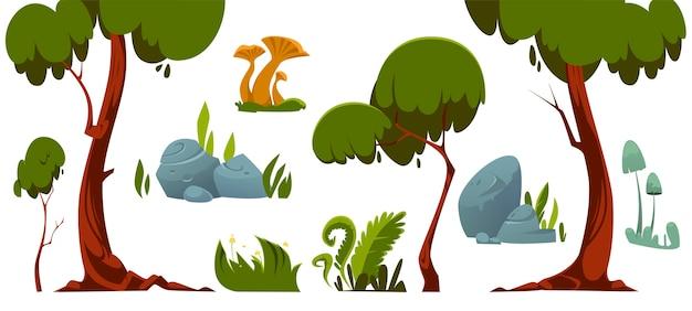 Waldlandschaftselemente, bäume, grünes gras, steine und pilze. Kostenlosen Vektoren
