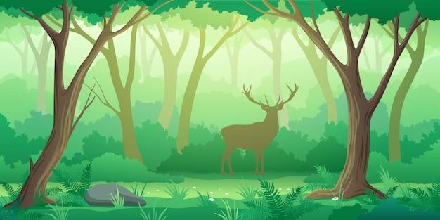 Waldlandschaftshintergrund mit bäumen und hirschschattenbild im stil Premium Vektoren