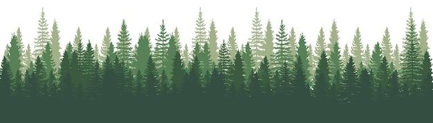 Waldpanoramaansicht. kiefern. fichten-naturlandschaft. waldhintergrund. satz kiefer, fichte und weihnachtsbaum auf weißem hintergrund. silhouette wald hintergrund. vektorillustration Premium Vektoren