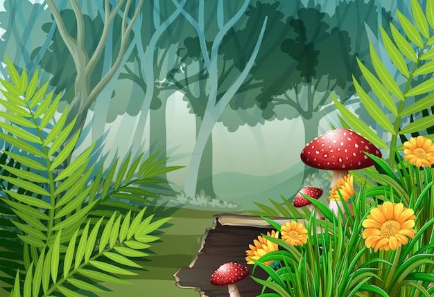 Waldszene mit bäumen und blumen Premium Vektoren