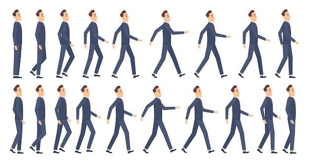Walking-animation. business charaktere 2d animation keyframes spiel cartoon sprite maskottchen. Premium Vektoren