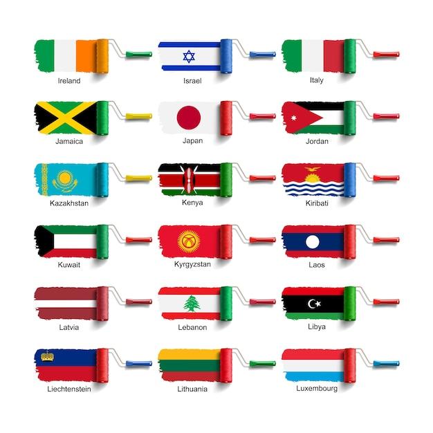 Walzenbürste mit nationalflagge Premium Vektoren