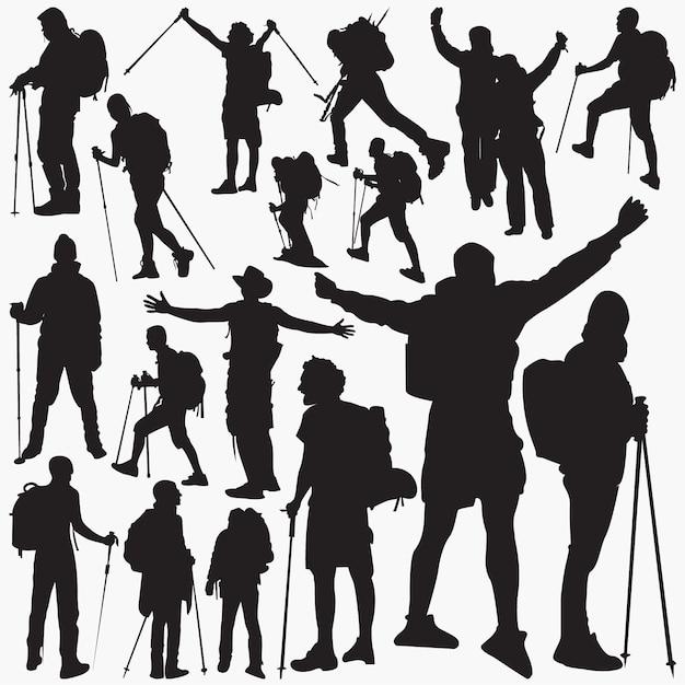 Wanderer-silhouetten Premium Vektoren