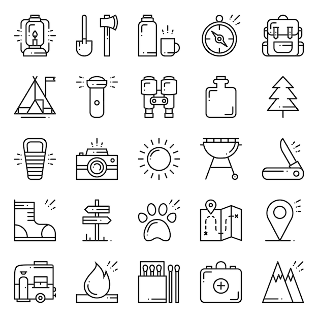 Wandern und camping icons set. Premium Vektoren