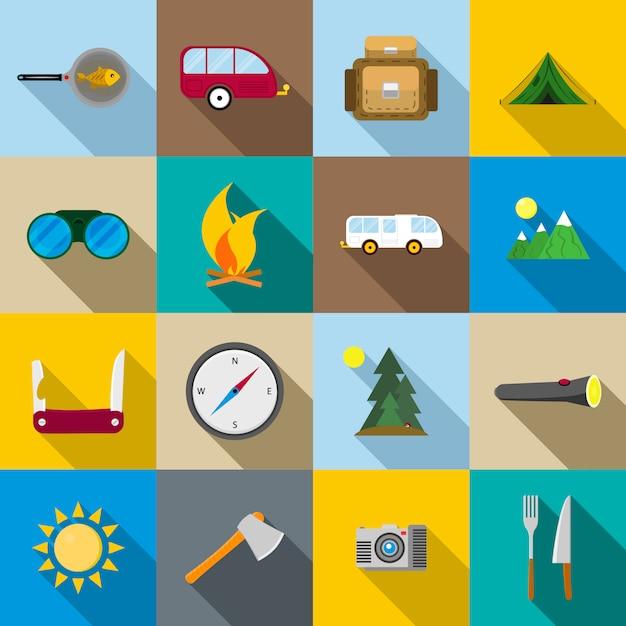 Wandern und camping icons set Premium Vektoren