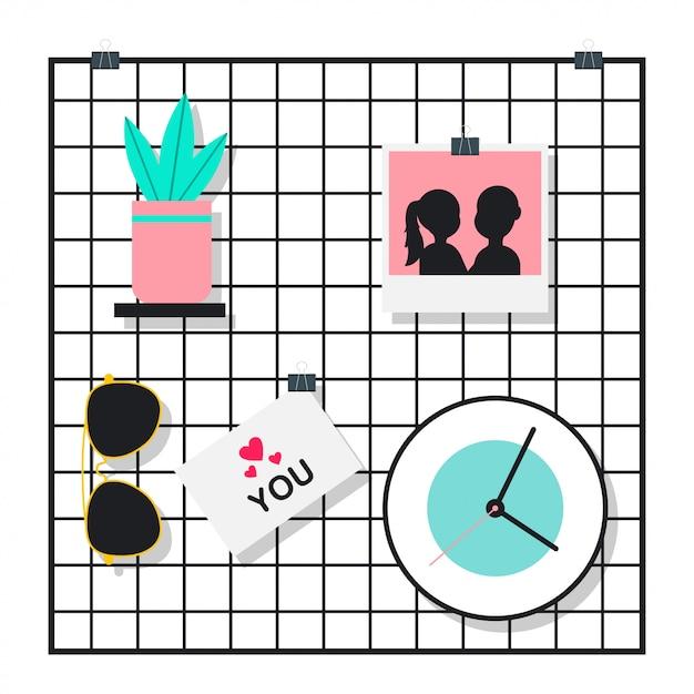 Wandgitter mit sonnenbrille, pflanze im topf, foto und uhr. flache illustration der vektorkarikatur isoliert Premium Vektoren