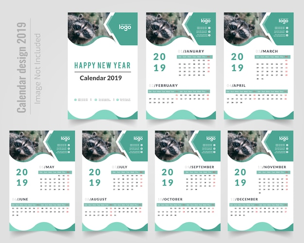 Wandkalender 2019 Premium Vektoren